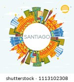 santiago chile skyline with... | Shutterstock . vector #1113102308