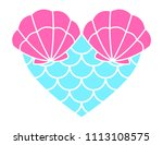 heart with fish scales and... | Shutterstock .eps vector #1113108575