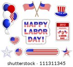 labor day stickers with a... | Shutterstock . vector #111311345
