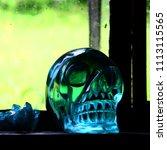 obsidian crystal skull.  | Shutterstock . vector #1113115565