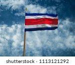 costa rica flag silk waving... | Shutterstock . vector #1113121292