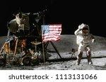 astronaut on lunar moon landing ... | Shutterstock . vector #1113131066