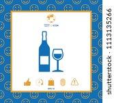 bottle of wine and wineglass... | Shutterstock .eps vector #1113135266