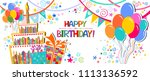 birthday card. celebration... | Shutterstock .eps vector #1113136592