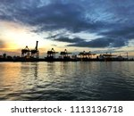 container ship in export and... | Shutterstock . vector #1113136718