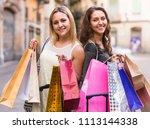 portrait of two young women... | Shutterstock . vector #1113144338