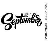 hello september hand lettering  ... | Shutterstock .eps vector #1113148928