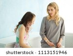 mother scolds her daughter at...   Shutterstock . vector #1113151946