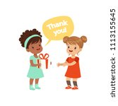 girl thanking a friend for a... | Shutterstock .eps vector #1113155645