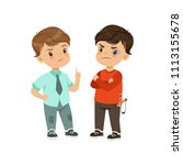brave litlle boy trying to stop ...   Shutterstock .eps vector #1113155678