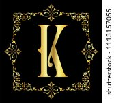 gold color letter k with... | Shutterstock .eps vector #1113157055
