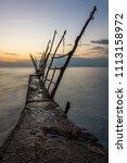 panorama of beautiful sunset at ... | Shutterstock . vector #1113158972