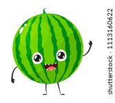watermelon mascot is waving hand | Shutterstock .eps vector #1113160622