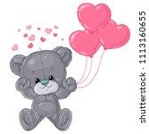 cute teddy bear card for... | Shutterstock .eps vector #1113160655