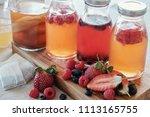 kombucha second fermented fruit ...   Shutterstock . vector #1113165755