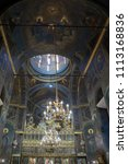 Small photo of BUCHAREST, ROMANIA - JUNE 2, 2018: Interior of Curtea Veche church the oldest church in a summer day in Bucharest, Romania