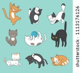 cool doodle abstract cats... | Shutterstock . vector #1113176126