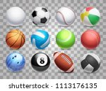 realistic sports balls big set... | Shutterstock . vector #1113176135