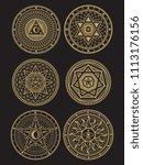 golden occult  mystic ...   Shutterstock . vector #1113176156