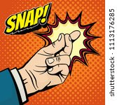 male hand with snapping finger...   Shutterstock . vector #1113176285