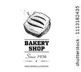bakery shop poster. top view... | Shutterstock .eps vector #1113182435