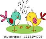 cute couple of birds singing... | Shutterstock .eps vector #1113194708