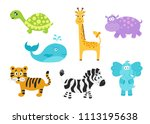 set of cute cartoon  animals... | Shutterstock .eps vector #1113195638