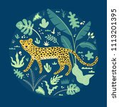 illustration with cute leopard... | Shutterstock .eps vector #1113201395