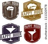 vintage style happy hour beer   ... | Shutterstock .eps vector #111320978