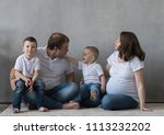 family portrait  father mother...   Shutterstock . vector #1113232202