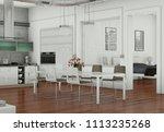 dining room interior design in... | Shutterstock . vector #1113235268