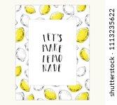 hand drawn lemon frame. ink... | Shutterstock .eps vector #1113235622