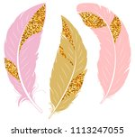 set of feathers. pink and gold... | Shutterstock .eps vector #1113247055