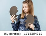 sad young teenage woman with...   Shutterstock . vector #1113254312