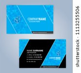 business card template. blue... | Shutterstock .eps vector #1113255506