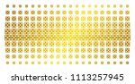 dice icon gold colored halftone ... | Shutterstock .eps vector #1113257945