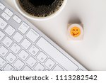 computer work space with coffee ... | Shutterstock . vector #1113282542