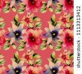 seamless wallpaper with wild... | Shutterstock . vector #1113313412