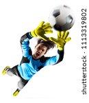 professional soccer goalkeeper... | Shutterstock . vector #1113319802