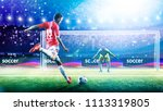 Small photo of Soccer player ready to execute penalty kick on the grand arena