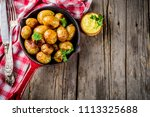 baked in frying pan whole young ... | Shutterstock . vector #1113325688