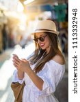 beautiful city woman is... | Shutterstock . vector #1113332948