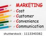 marketing written on a white... | Shutterstock . vector #1113340382