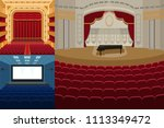 theater stage with curtains... | Shutterstock .eps vector #1113349472
