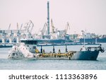 Small photo of Special dredge ship sand in Odessa, Ukraine