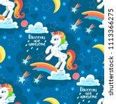 children's background unicorn | Shutterstock .eps vector #1113366275