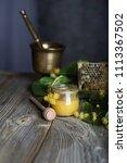 linden blossoms honey in a... | Shutterstock . vector #1113367502