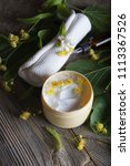 face cream with linden blossoms.... | Shutterstock . vector #1113367526