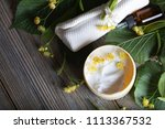 face cream with linden blossoms.... | Shutterstock . vector #1113367532