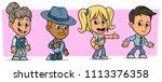 cartoon funny boy and girl... | Shutterstock .eps vector #1113376358